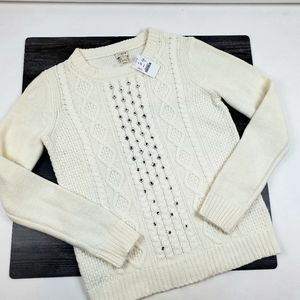 J Crew Sweater Womens Size S Off White Cable Knit